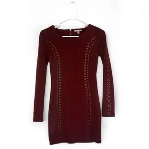 LUCCA COUTURE || Dark Red / Gold Embellished Dress